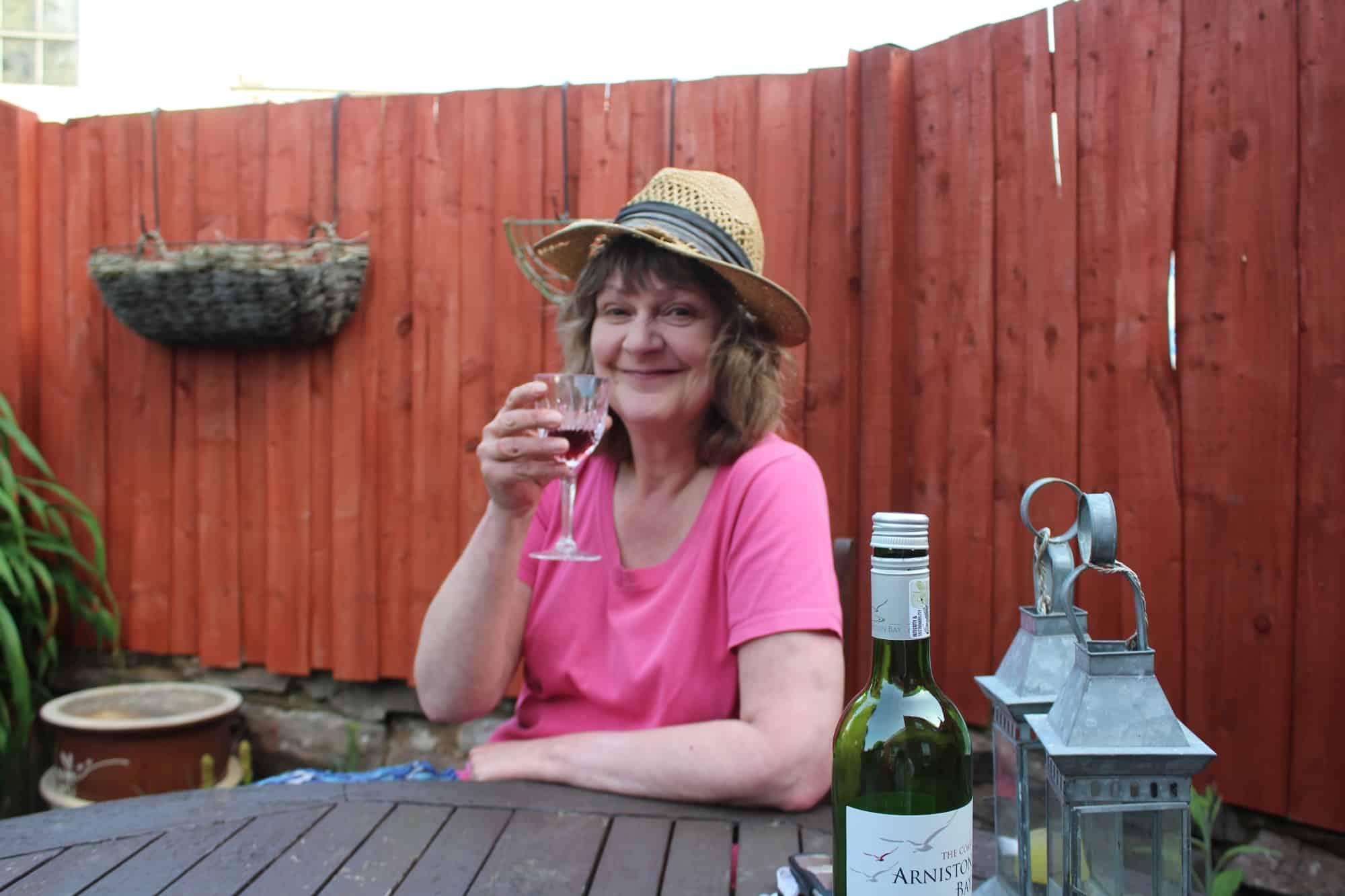 Vanda enjoying Wine