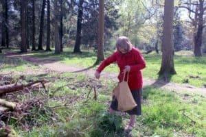 Vanda collecting Pea Sticks