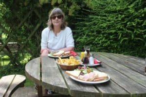 Eating out in the Forest of Dean. Vanda having Lunch at the Glasshouse